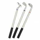 GF-01 Golf Stick Shape Red / Blue / Black Ink Ballpoint Pens Set - Silver + Black (3 PCS)