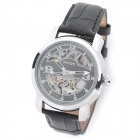 Wilon 2026 PU Band Stainless Steel Case Skeleton Self-winding Mechanical Analog Wrist Watch - Black