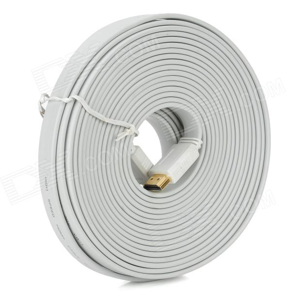 G1302 HDMI 1.4 Male to Male Flat Connection Cable - White (10 m)