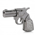 Crystal Diamond Metal Gun Pistol Shape USB 2.0 Flash Drive Disk - Dark Grey (8GB)