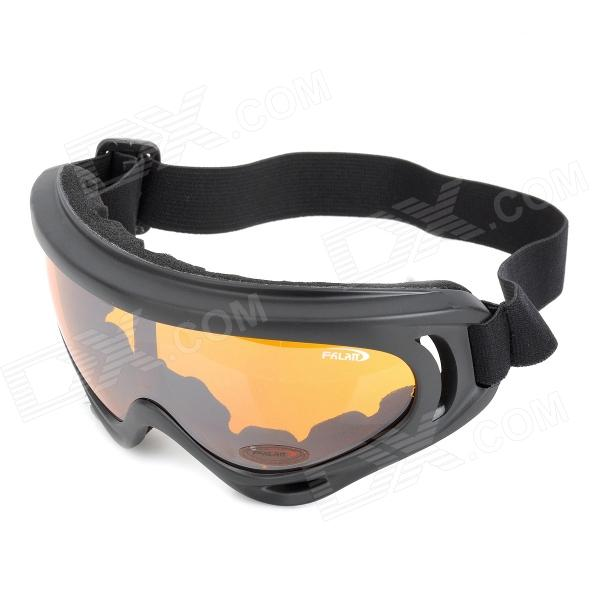 UV400 Protection Outdoor Motorcycle Riding Cool Windproof Goggles - Black + Tawny