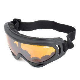 Motorcycle Riding UV400 Protection Windproof Goggles - Black + Tawny