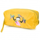 Fashion Portable Girl + Birds Pattern Oxford Cloth Zippered Cosmetic Bag w/ Strap - Yellow