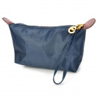 Cute Dumpling Style Portable Oxford Cloth Zippered Cosmetic Bag w/ Strap - Deep Blue