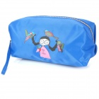 Fashion Portable Girl + Birds Pattern Oxford Cloth Zippered Cosmetic Bag w/ Strap - Blue