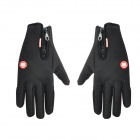 Outdoor Screen Touching Full-Finger Hand Warmer Gloves for Cycling / Skiing - Black (Size L / Pair)