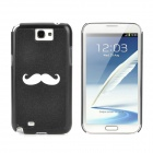 Beard Pattern Protective Hard Plastic Back Case for Samsung Galaxy Note II N7100 - Black