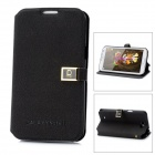 Ultra-Thin Protective PU Leather Case w/ Card Holder for Samsung Galaxy Note II N7100 - Black