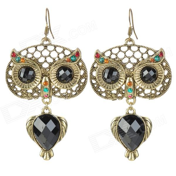 Retro Style Zinc Alloy Owl Earrings for Women - Golden women s fashion tassel style zinc alloy earrings golden silver pair