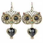 Retro Style Zinc Alloy Owl Earrings for Women - Golden