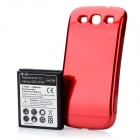 Replacement 4300mAh Li-ion Battery w/ Plastic Back Case for Samsung i9300 - Red