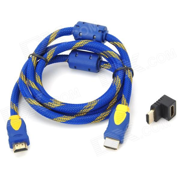 HDMI V1.4 Male to Male Connection Cable w/ Angle HDMI Adapter - Blue + Yellow (150cm)