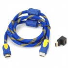 HDMI V1.4 Male to Male Connection Cable w/ Angle HDMI Adapter - Blue + Yellow (43cm)