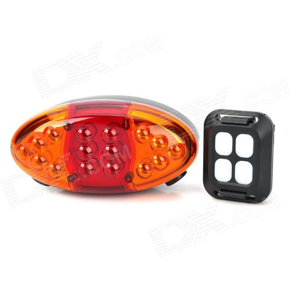 Jsd-1202 4-Mode 6-LED rouge lumière laser bicyclette queue d'avertissement - noir + orange