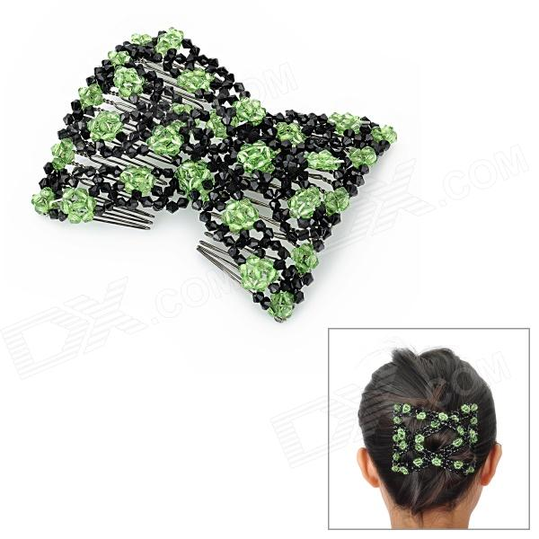Rose Pattern Stretchy Crystal Beads Double Hair EZ Combs Clips - Green + Black