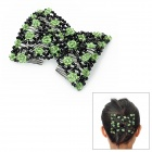 Rose Pattern Stretchy Kristallperlen Doppel Haar EZ Combs Clips - Green + Black