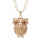 Fashion Women's Owl Style Pendant Sweater Necklace - Golden
