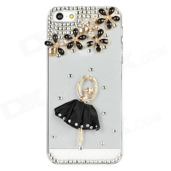Ballet Girl Style Crystal Protective Plastic Back Cover Case for Iphone 5 - Black + Transparent rubberized matte plastic cell phone case for iphone 7 plus 5 5 inch black