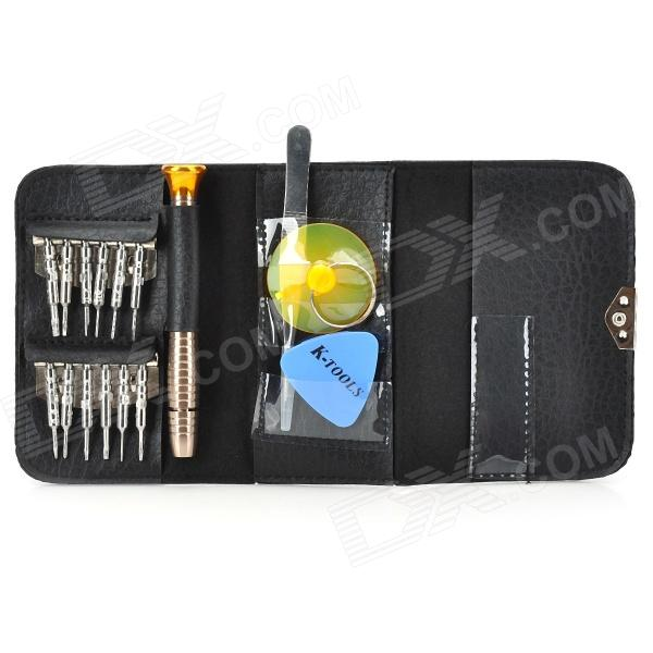 K-1247 16-in-1 Portable Professional Disassembly Repairing Tools for Cellphones - Black