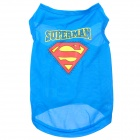 Cute Superman Style Dog Pet Apparel Clothes - Blue + Red + Yellow (Size: L)
