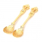 Retro Style Zinc Alloy Engraving Coffee Spoons - Golden (2PCS)