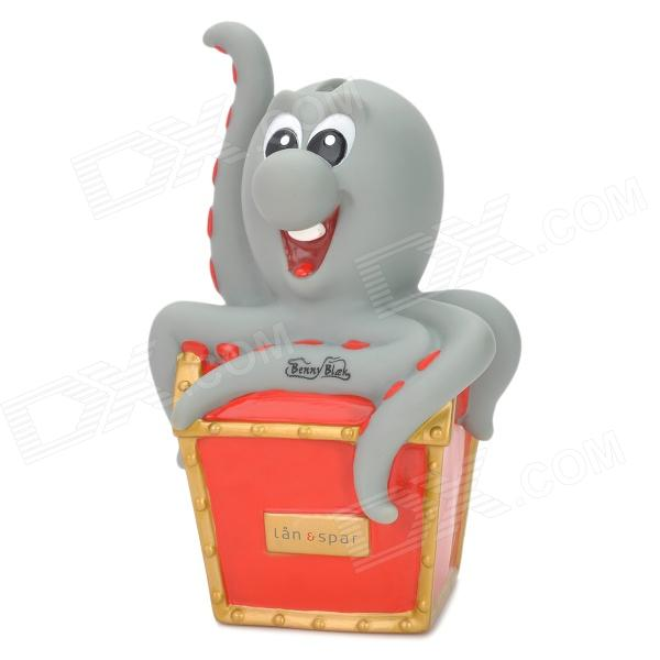 S025 Cute PVC Octopus Toy - Grey + Red + Golden