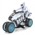 ZhengCheng 333-930B Rechargeable 4-CH Radio Control R/C Motorcycle w/ Music / Light - White + Black