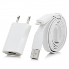 AC Power Adapter + Lightning 8 Pin Male to USB Male Flat Cable for iPhone 5 - White (EU Plug)