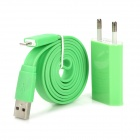 AC-Ladegerät + USB Charging 8-Pin Lightning Flat-Kabel für iPhone 5 / iPod Nano 7 - Green (EU Plug)