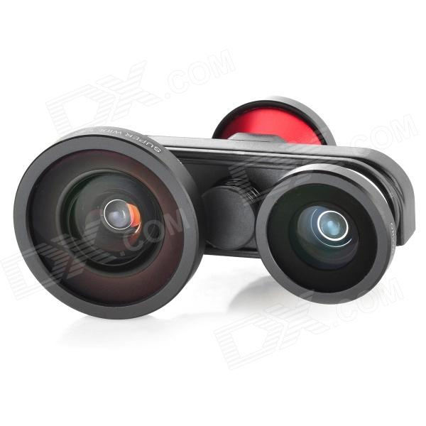 FMSW 4-in-1 Front + Fisheye + Wide Angle + Macro Lens Camera Kit for Iphone 5 - Black + Red + Silver