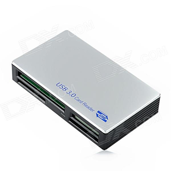 D1203 USB 3.0 SD / MS / M2 / CF / XD / Micro SD / TF Card Reader - Silver + Black ssk scrm056 usb 3 0 5gbps high speed multifunctional card reader white silver grey max 64gb