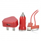 AC / Car Charger + 30-Pin-Anschluss USB-Kabel für iPhone 3GS / iPhone 4 / iPhone 4S - Rot (UK-Stecker)