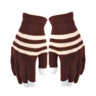 Fashion Strip Pattern Touch Screen Warm Gloves for Women - Grey + Yellow + Coffee (Pair)