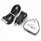 UK Plug AC Power Charger Adapter + Car Charger w/ USB Male to 30-Pin Male Cable for iPhone - Black