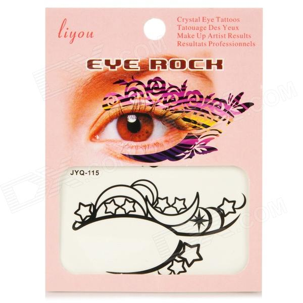 Cosmetic Makeup Moons & Stars Eyelid Eye Sticker - Black + Red (2 Pairs)