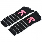Casual Style Rabbit Pattern Cotton Five Toes Socks - Black + Grey + Pink