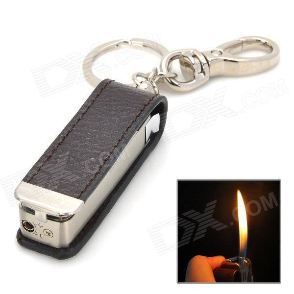 HONEST Genuine Leather + Stainless Steel Butane Lighter w/ Knife / Keychain - Brown + Silver suunto core brushed steel brown leather