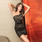 2498-1 Rose Pattern Lady's Lace One-Shoulder Tight Dress - Black (Size M)