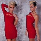 2389-3 Lady's Sexy Elegant Viscose Fiber One-Sleeve Tight Dress - Red (Size M)