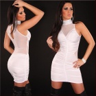 Lady's Sexy Curved Mesh + Meryl None-Sleeve Halter Tight Dress - White (Size L)