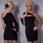 2389-2 Exquisite Elegant Sexy One-Sleeve Meryl Dress - Black (M-Size)