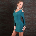 2389-4 Exquisite Elegant Sexy Long Sleeves Meryl Dress - Dark Green (M-Size)