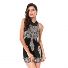 Chic Floral Classic Vintage Collar Exotic Sleeveless Mini Dress - Black + White