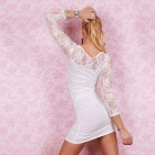 Sofisticado Sexy Curve Cocktail Dress Lace - Branco
