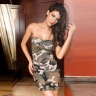 Gut gemachte Sexy Camouflage Strapless Cocktail Dress - Groovy Grün