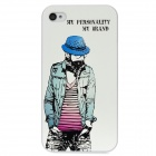 Colorschutz Fashion Guy Muster Relief zurück Fall für iPhone 4 / 4S - Weiß