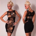 Sophisticated Sexy Vest Animal Print Dress with Splicing Lace - Black + Brown