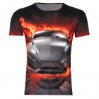 Männer koreanische Version Sports Car Printing Pattern Short Sleeve T-Shirt - Black (Größe XXXL)