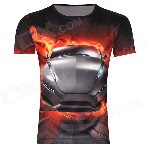 Men's Korean Version Sports Car Printing Pattern Short Sleeve T-shirt - Black (Size XL) men s korean version flaming sports car printing pattern short sleeve t shirt grey size xxxl
