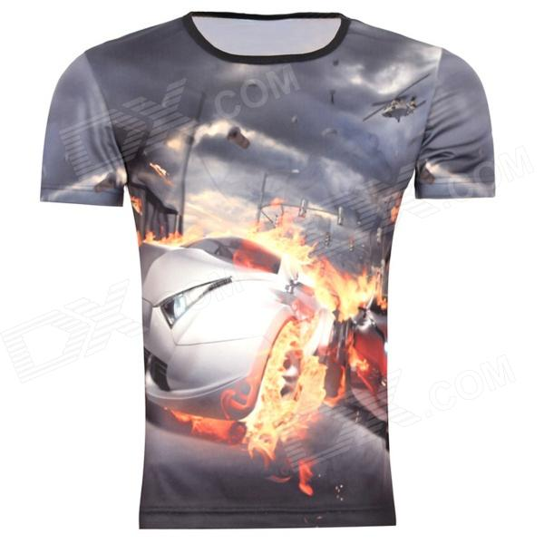 Men's Korean Version Flaming Sports Car Printing Pattern Short Sleeve T-shirt - Grey (Size XL) creative pattern pure cotton short sleeve t shirt for men grey size s